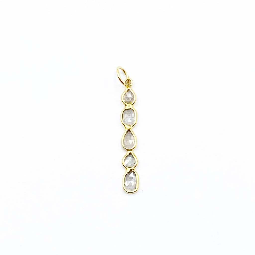 14 Karat Yellow Gold Rose Cut Diamond Stick Pendant