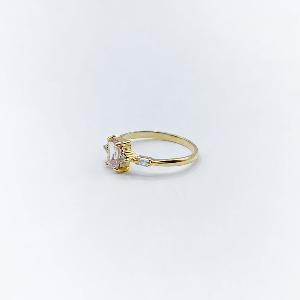 Emerald Cut Pink Sapphire and Diamond Ring in 14 Karat Yellow Gold