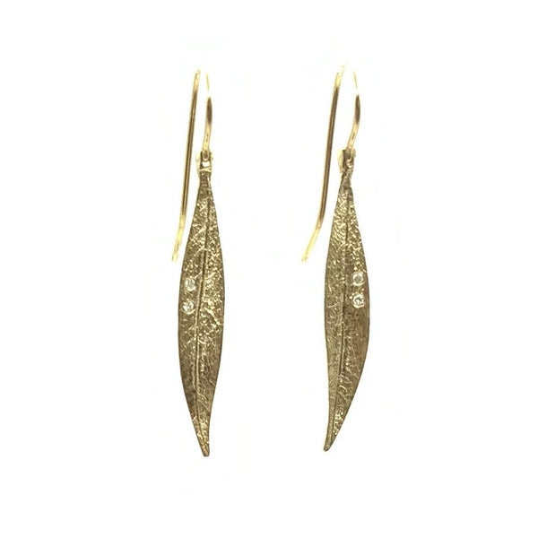 14 Karat Yellow Gold Leaf Earrings With Two Sparkly Diamonds weight  0.04 Carat Total Weight