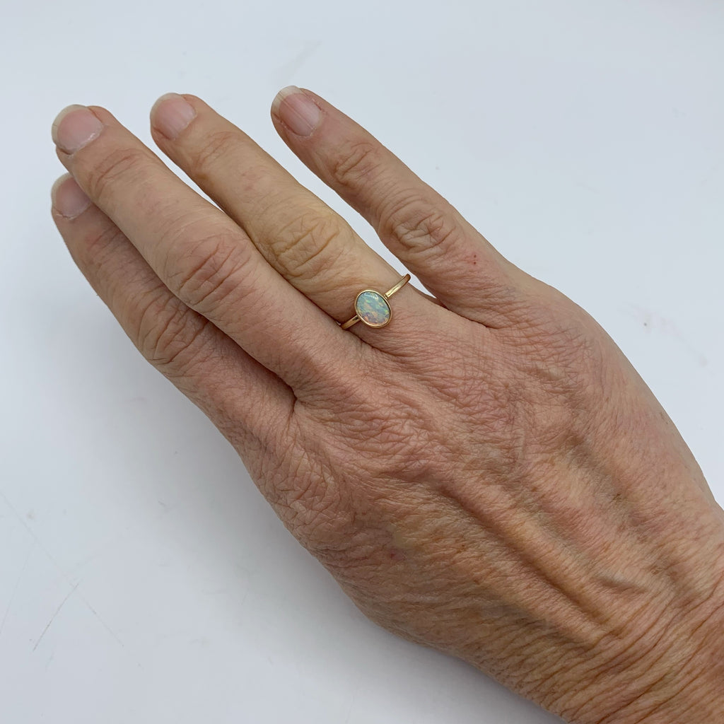 14 Karat Yellow Gold Ring with Oval Opal