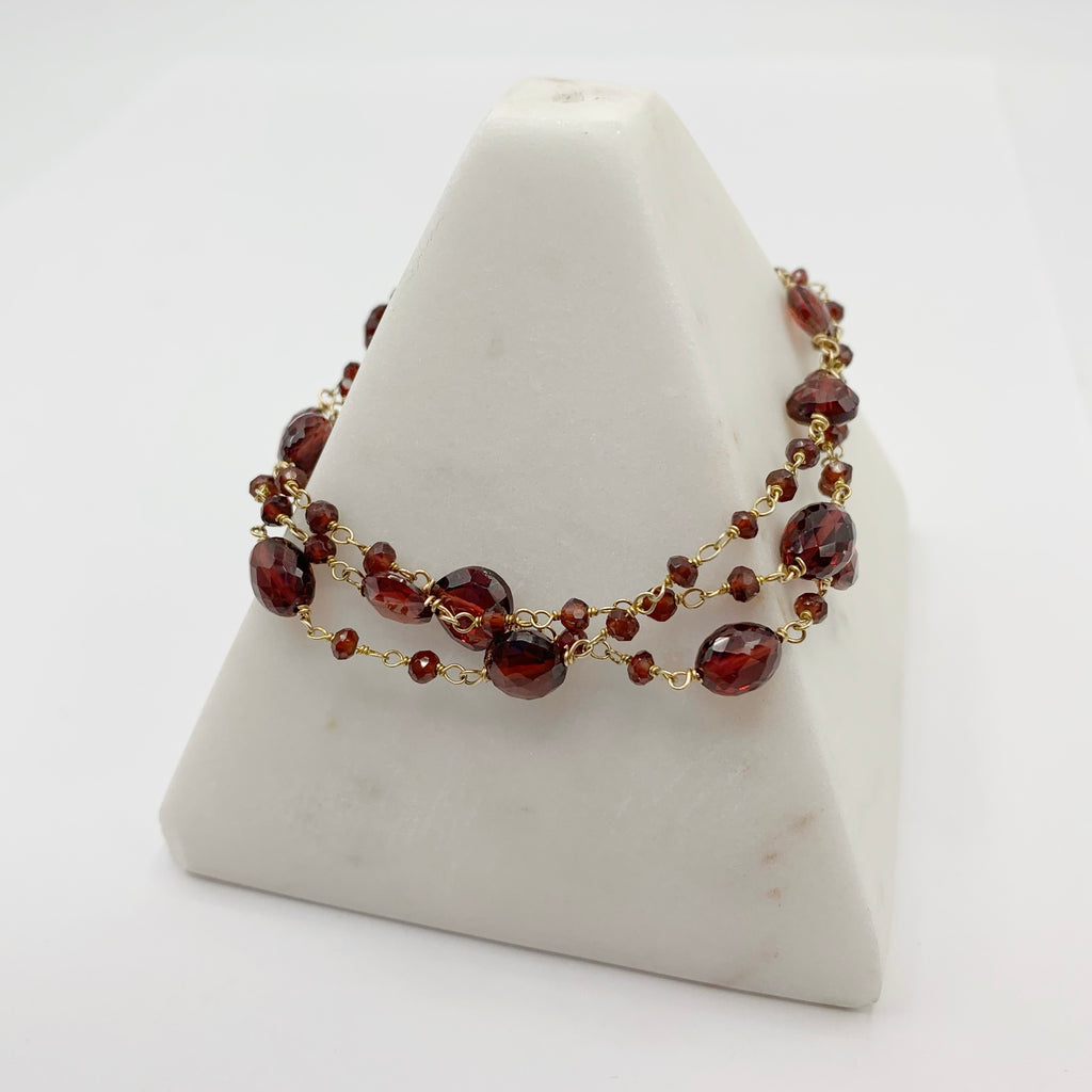 Gold Filled Bracelet with Triple Garnet Beads on Wire