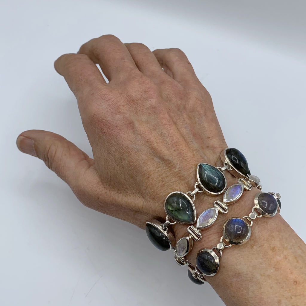 White Sterling Silver Bracelet with Marquise Labradorites