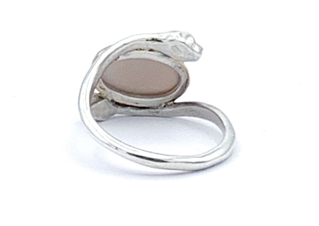 Sterling Silver and 14K Gold Pink Moonstone Snake Ring