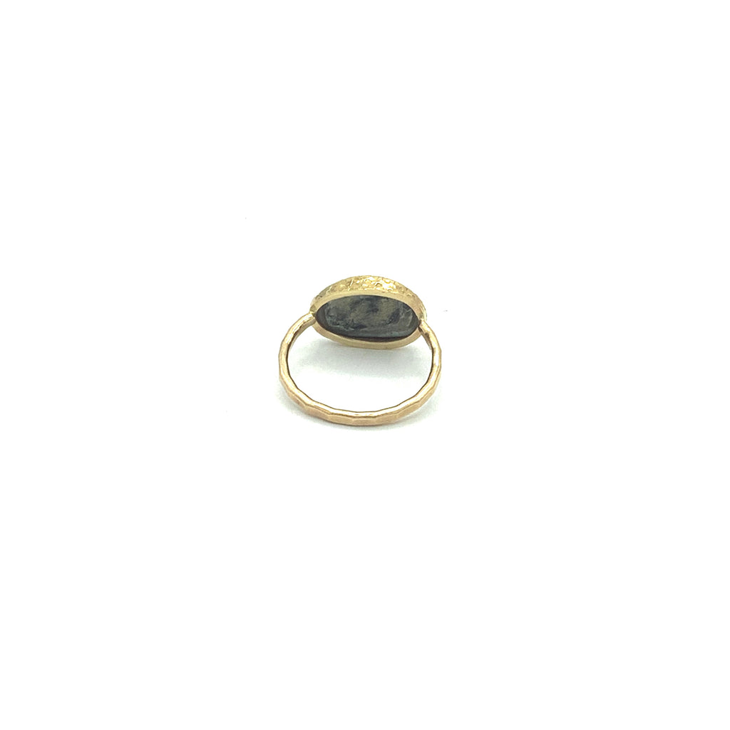 Ring 14 Karat Gold Hammered Finish With Abalone Pearl