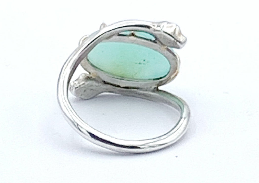 Sterling Silver and 14K Gold Chrysoprase Snake Ring
