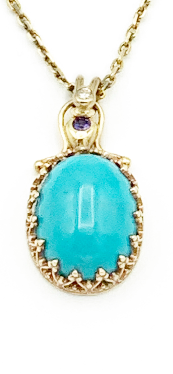 Persian Turquoise Pendant with Sapphire and Diamond