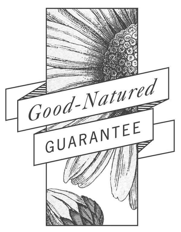 Good-natured guarantee banner. We stand behind our she product