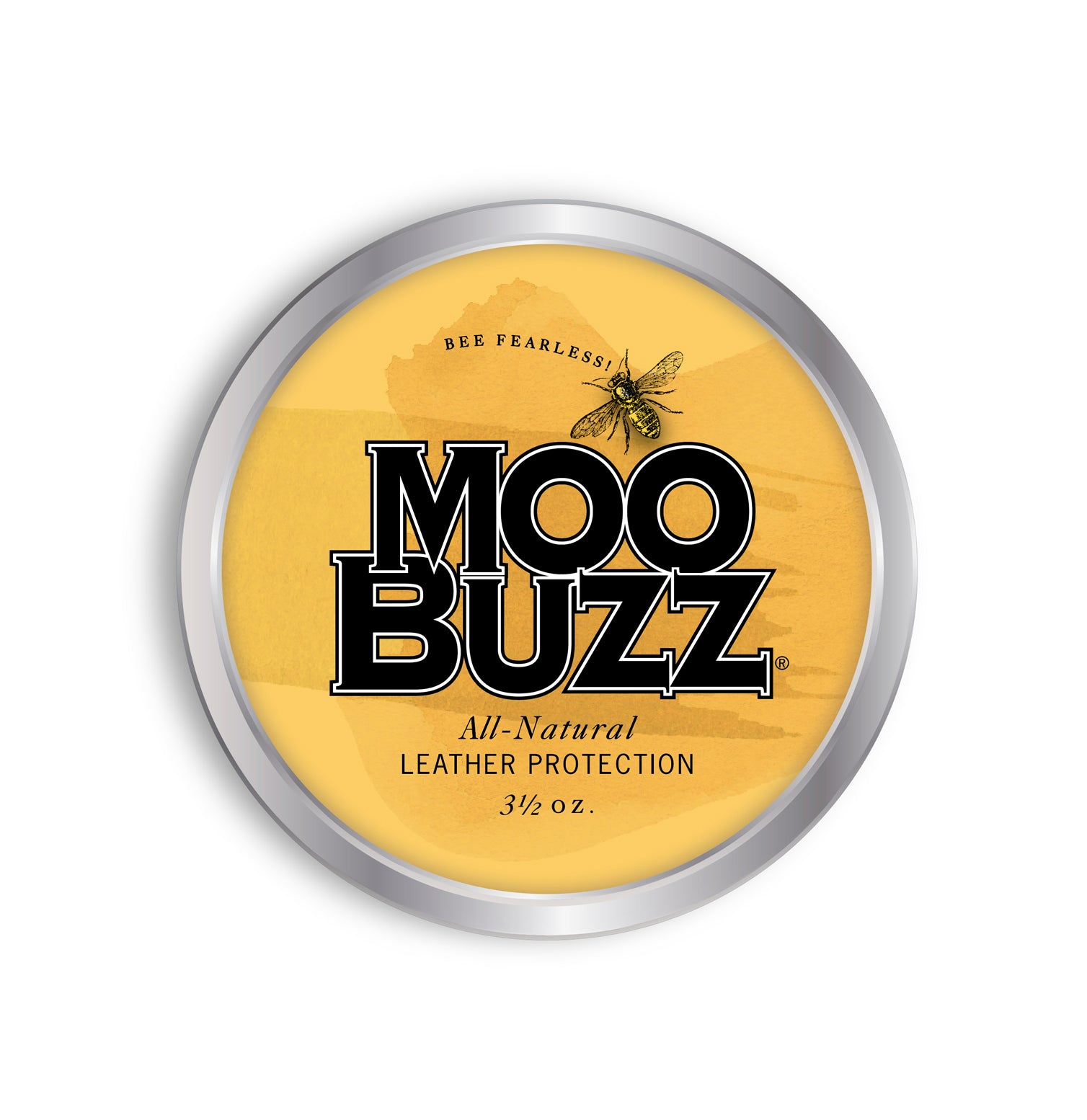 3.5 ounce tin of MooBuzz leather conditioner and waterproofer