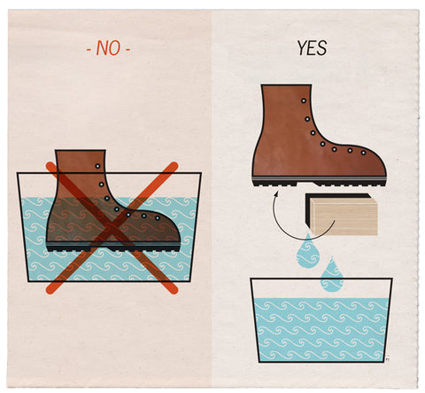 soaking in a tub - no, tub holding water to apply to boot with sponge? - yes!