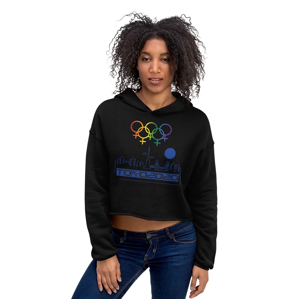 Tribe of the Union Rings Female Gender Identity Blue Skyline Big 'O' Games Crop Hoodie