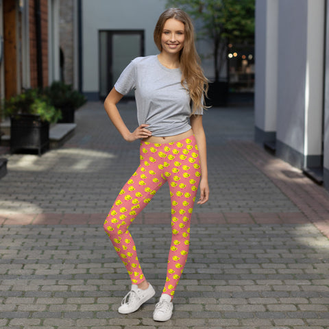 Chicks, Chicks, and more Chicks on a Pink Background All-Over Print Leggings