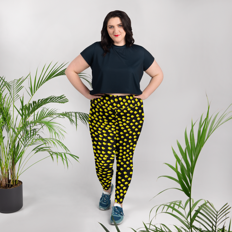 Chicks, Chicks, and more Chicks on a Black Background All-Over Print Plus Size Leggings