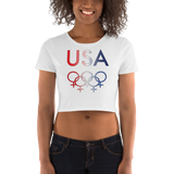 Tribe of the Union Rings USA Female Gender Identity Red, White, and, Blue colored Women's Crop Tee