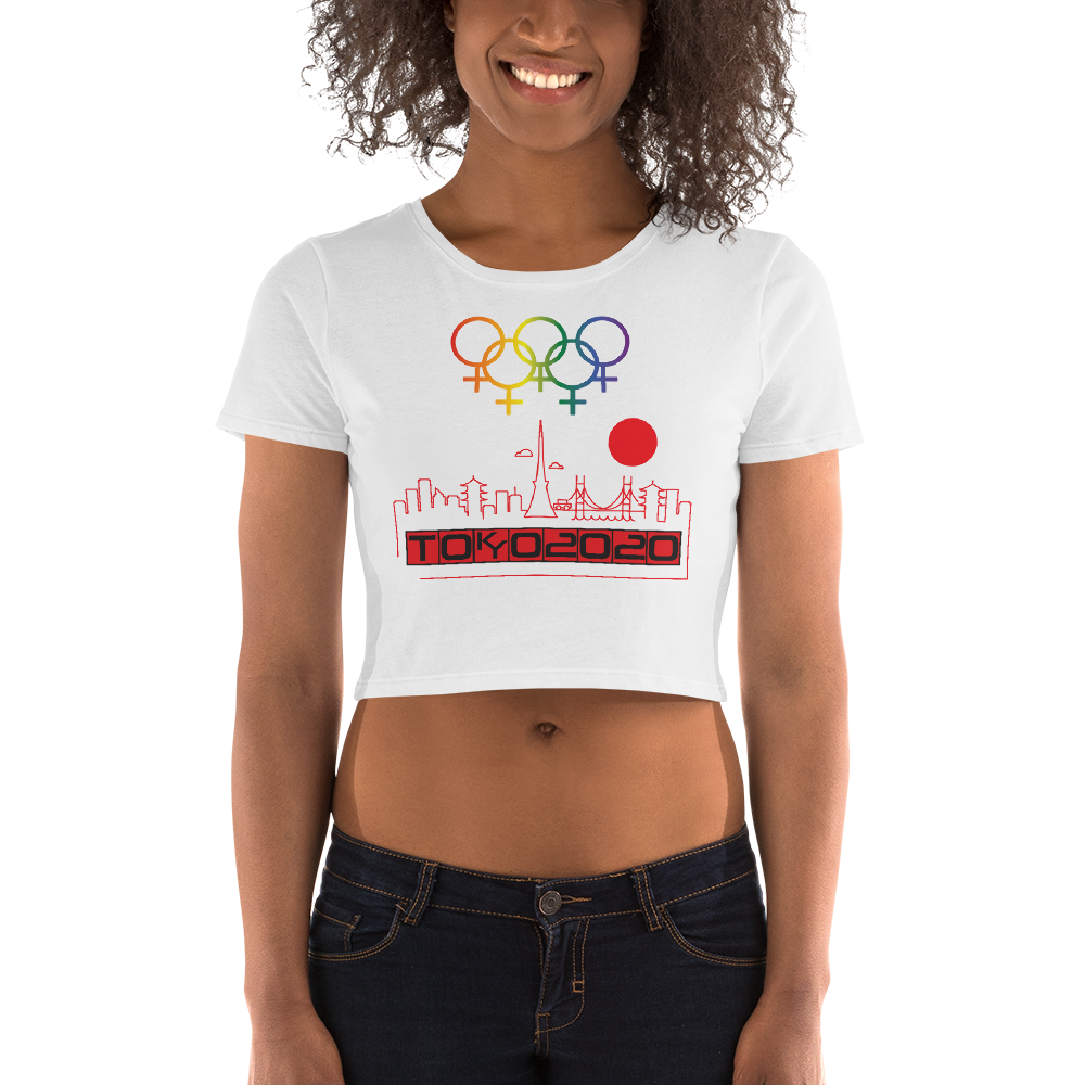 Tribe of the Union Rings Female Gender Identity Red Skyline Big 'O' Games Women's Crop Tee