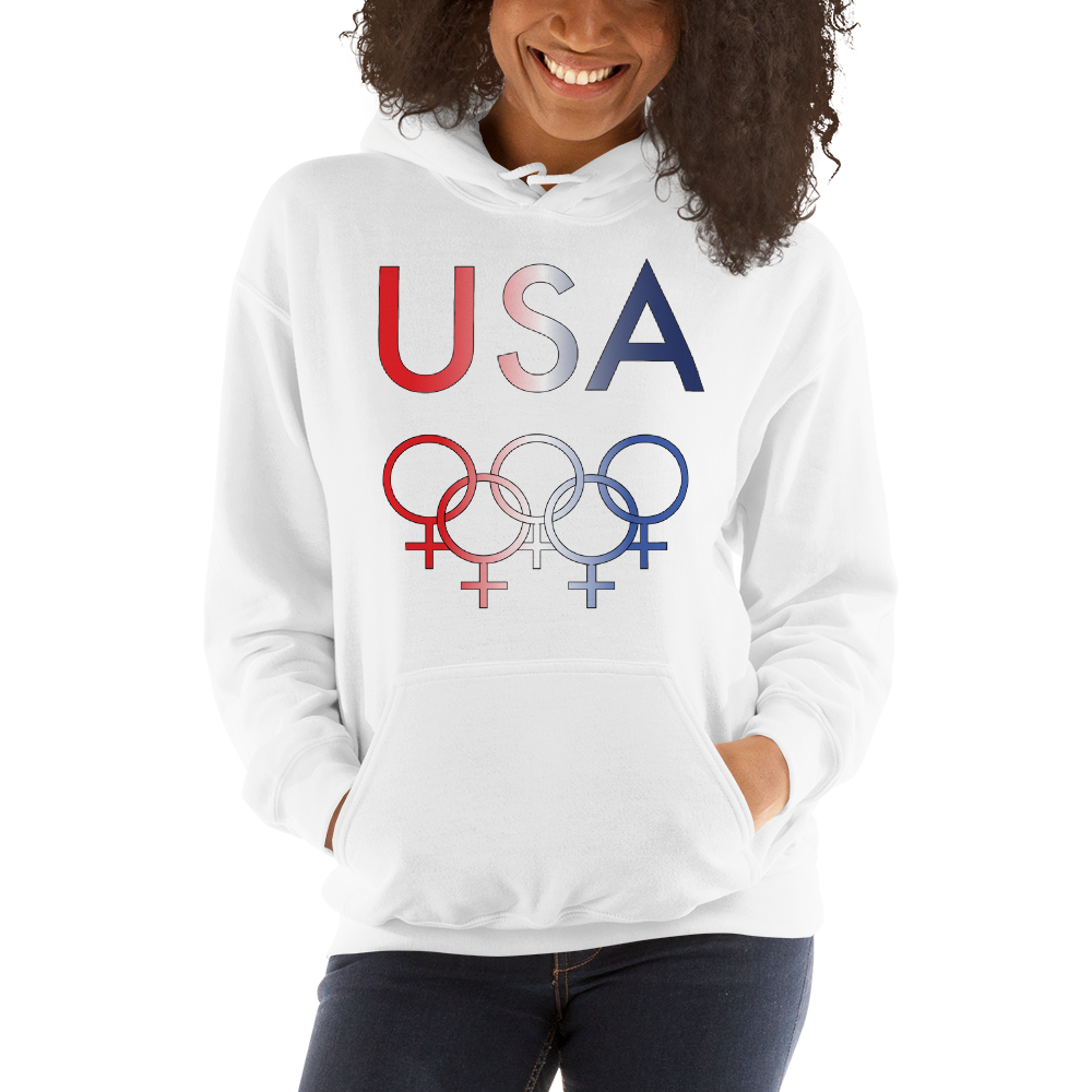 Tribe of the Union Rings USA Female Gender Identity Red, White, and, Blue colored Unisex Hoodie