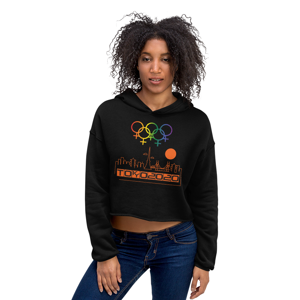 Tribe of the Union Rings Female Gender Identity Orange Skyline Big 'O' Games Crop Hoodie