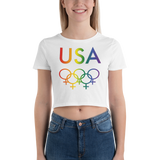 Tribe of the Rings USA Female-gender colored LGBT Women's Crop Tee