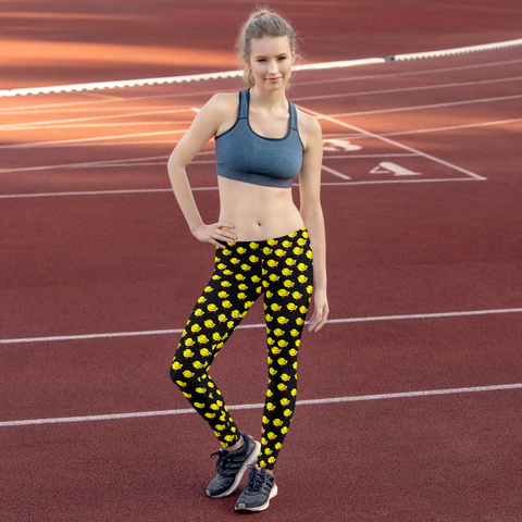 Chicks, Chicks, and more Chicks on a Black Background All-Over Print Leggings