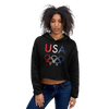 Tribe of the Union Rings USA Female Gender Identity Red, White, and, Blue colored Crop Hoodie