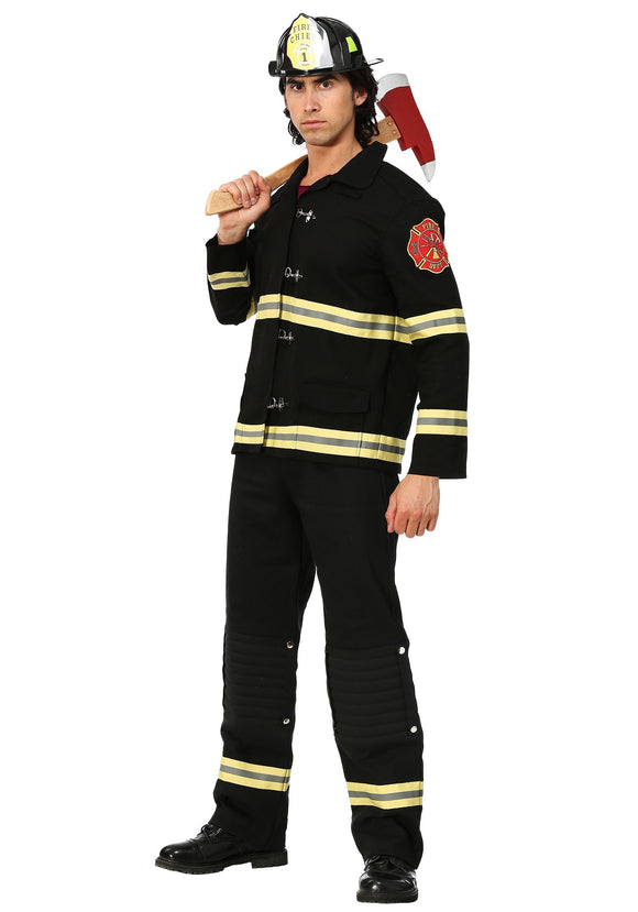 MEN'S BLACK FIREFIGHTER UNIFORM COSTUME