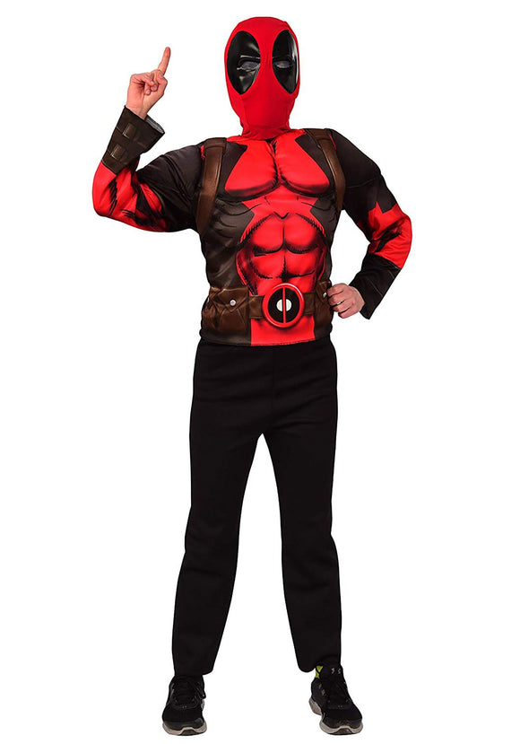 CHILD DEADPOOL MASK & TOP DELUXE COSTUME SET