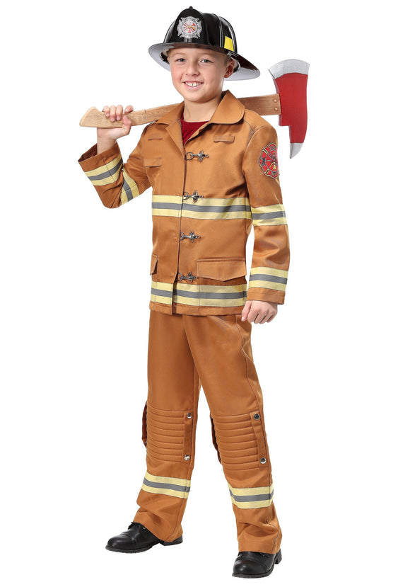 FIREFIGHTER TAN UNIFORM KIDS COSTUME