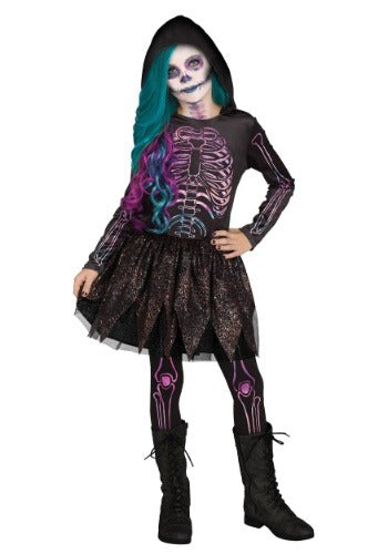 Girls Galaxy Skeleton Costume
