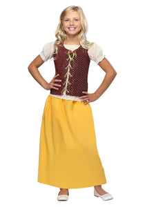 GIRLS RED PEASANT DRESS COSTUME