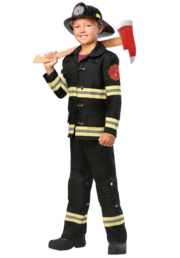 BLACK UNIFORM FIREFIGHTER KIDS COSTUME