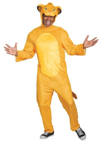 LION KING ANIMATED ADULT SIMBA JUMPSUIT COSTUME
