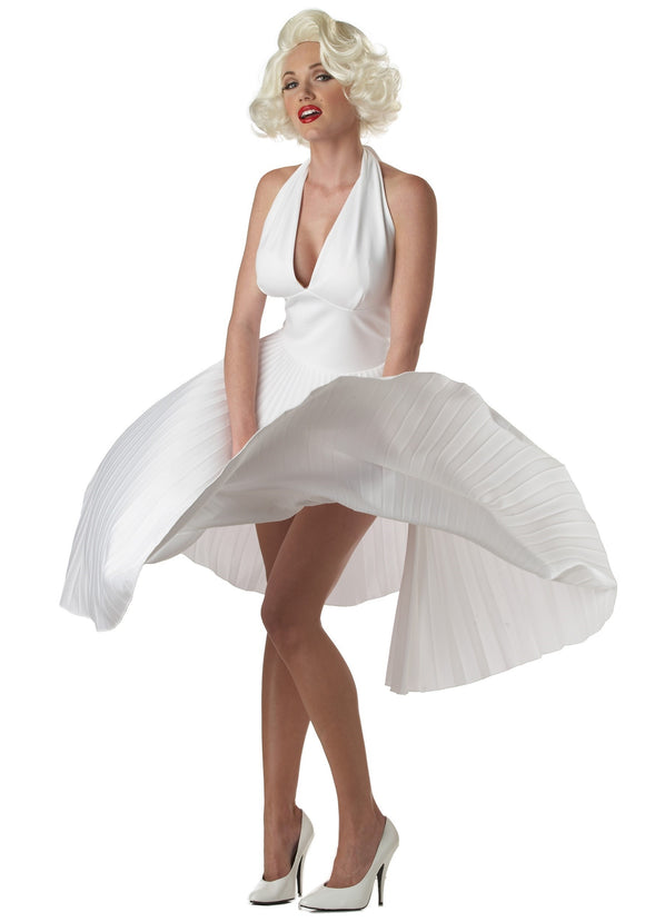 MARILYN MONROE DELUXE WHITE HALTER DRESS COSTUME