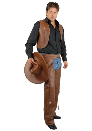 MEN'S BROWN COSTUME CHAPS AND VEST