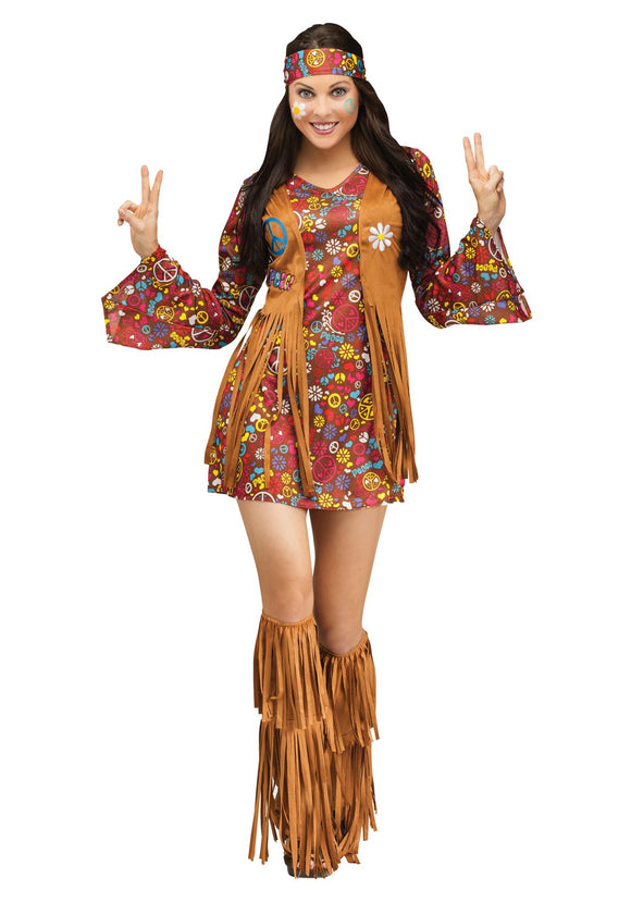 PEACE & LOVE HIPPIE ADULT COSTUME