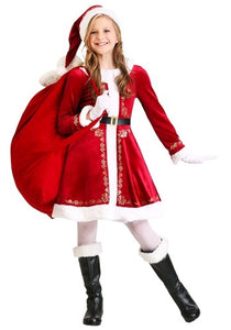GIRL'S SANTA DRESS COSTUME