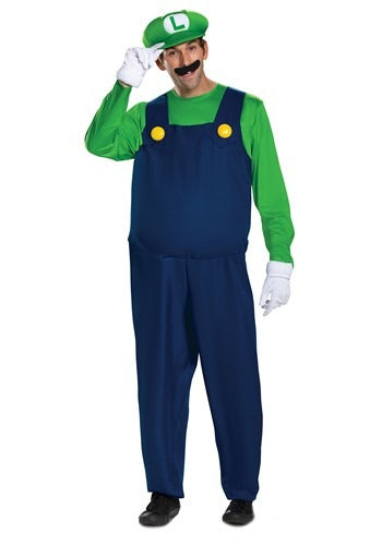 Super Mario Brothers Men's Luigi Deluxe Costume