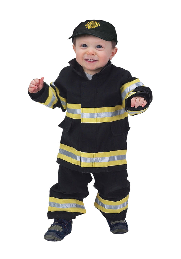 TODDLER BLACK FIREFIGHTER COSTUME