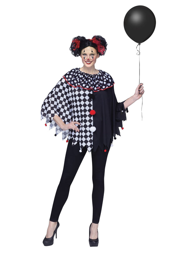 WOMEN'S SCARY CLOWN PONCHO COSTUME