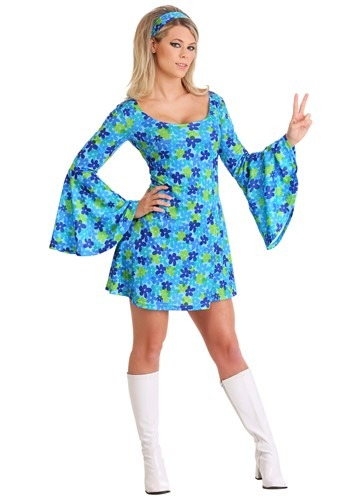 WOMEN'S WILD FLOWER 70'S DISCO DRESS COSTUME