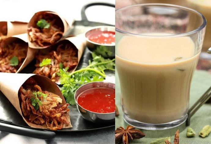 Traditional Chai Tea & Indian Red Onion Fritters (Pakoras)