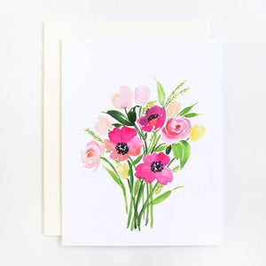 Poppies Bouquet Watercolor Greeting Cards - Single