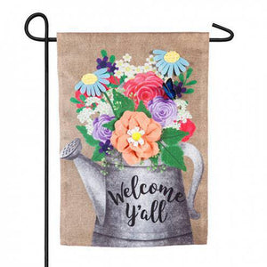Welcome Y'all Watering Can Garden Burlap Flag