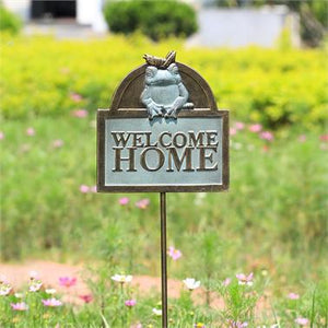Welcome Home Frog and Cricket Garden Sign on Stake