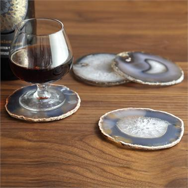 White and Natural Agate Coasters Set of 4
