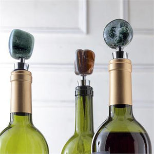 Tumbled Agate Wine Stoppers 3 Item 87002-green