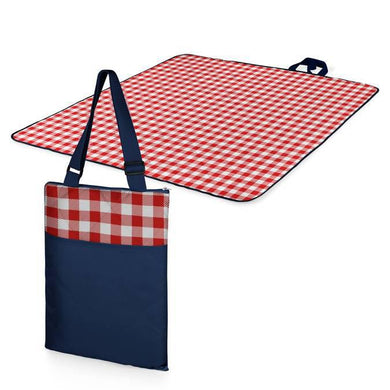 Picnic Time Vista Outdoor Blanket Tote - Navy with Red Check