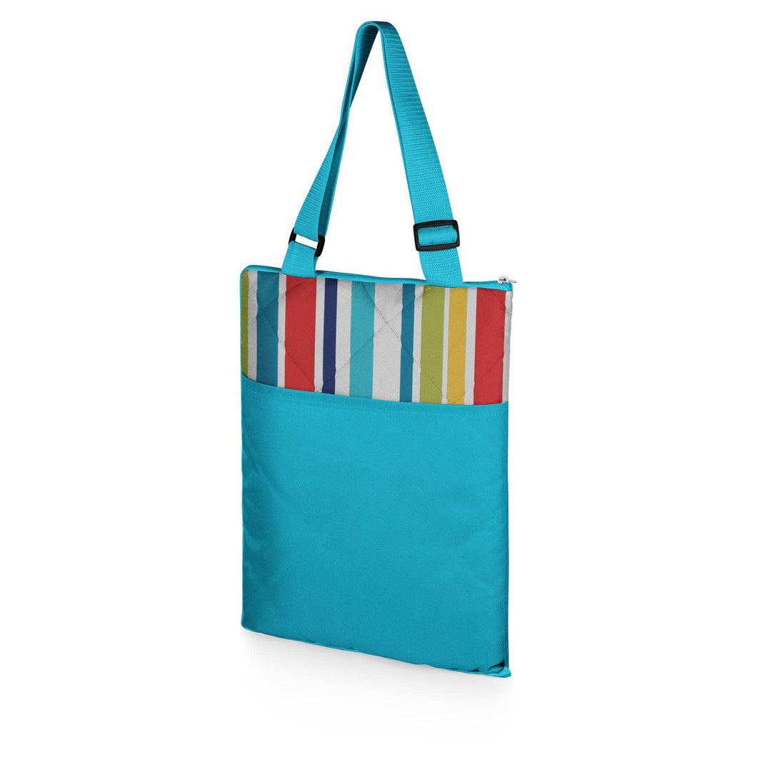Vista Outdoor Picnic Blanket & Tote-Fun Stripe Pattern with Aqua Blue Exterior