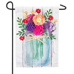 Mason Jar Bouquet Garden Linen Flag