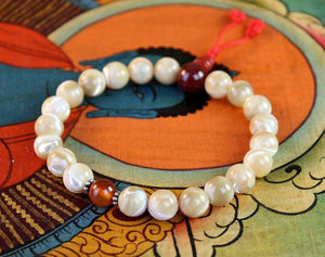 Mother of Pearl and Carnelian Wrist Mala