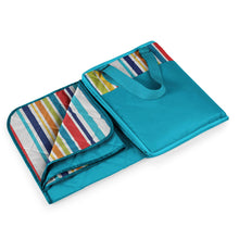 Load image into Gallery viewer, Vista Outdoor Picnic Blanket & Tote-Fun Stripe Pattern with Aqua Blue Exterior