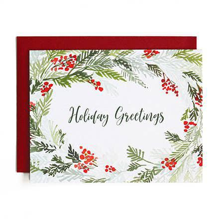 Winters Wreath Watercolor Holiday Greeting Cards